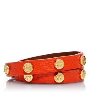 Tory Burch Orange Leather Wrap Bracelet